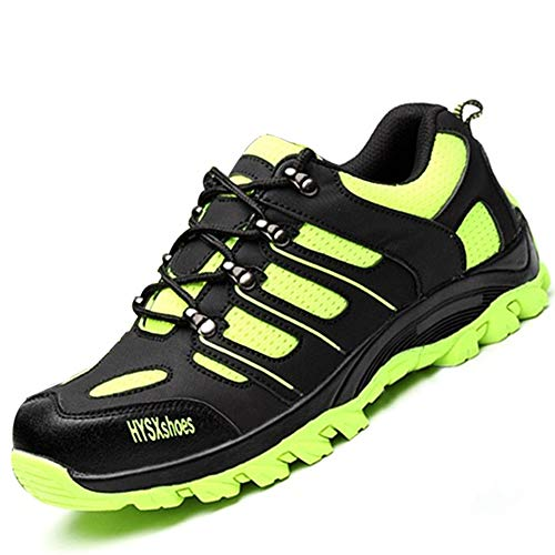 SUADEEX Damen Herren Sicherheitsschuhe Sportlich Trekking Wanderhalbschuhe Stahlkappe Arbeitsschuhe Hiking Schuhe Traillaufschuhe, 03-grün, 45 EU