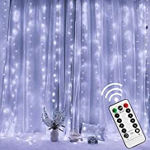 Twinkle Star 300 LED Window Curtain String Light with Remote Control Timer for Christmas Wedding Party Home Garden Bedroom Outdoor Indoor Decoration, White