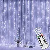 Twinkle Star 300 LED Window Curtain String Light with Remote Control Timer for Christmas...
