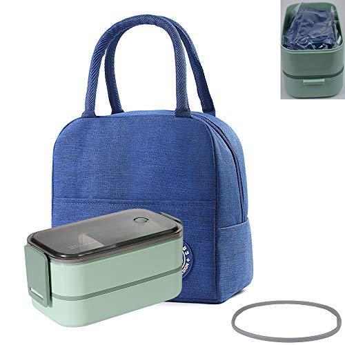 ALKAID Porta Pranzo. Lunch Box funzionante. può Essere riscaldato nel microonde. Scuola di Lavoro. 1600 ml bento Box. Borsa Pranzo(Borsa nella Scatola del Pranzo