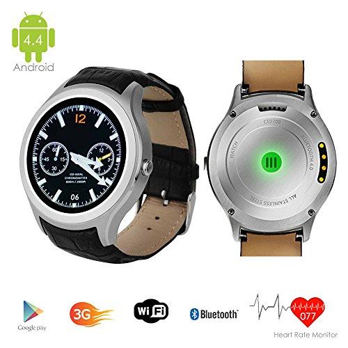 Indigi - Reloj de pulsera inteligente 3G con pantalla táctil Android 4.4 y WiFi, GPS desbloqueado, Smartphones desbloqueados