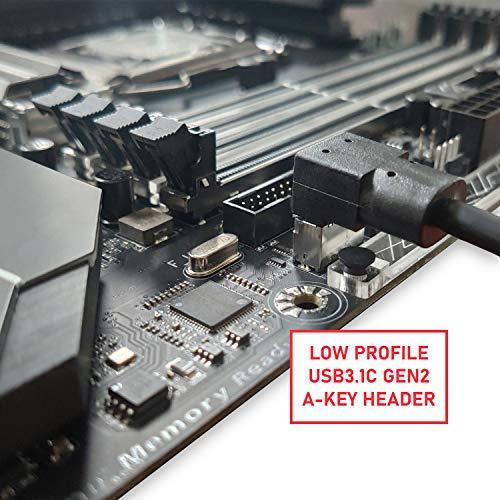 LINKUP - USB-C Typ Panel Kabelmontage Motherboard Stiftleistenverlängerung Adapter   Intern 3.1 10G Gen 2 20-Pin A-Key Stecker mit Abdeckung zur USBC Buchse mit PCI Halterung(rechter Winkel)-40CM