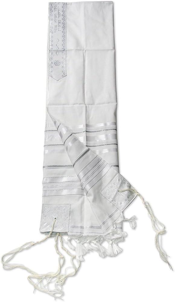 Jewish White silver Acrilan Tallit Raleigh Mall Shawl 47 Selling rankings Prayer Talit 67