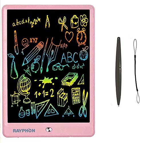 Drawing Tablet 10 Inches LCD Writing Tablet Colorful Screen, Doodle Board Electronic Doodle Pads Writing Board for Kids and Adults (Pink)