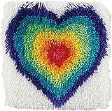 Kits de ganchos de pestillo Kits de fabricación de alfombras DIY para niños/adultos con patrón de lienzo impreso 12'x 12' Corazones de colores