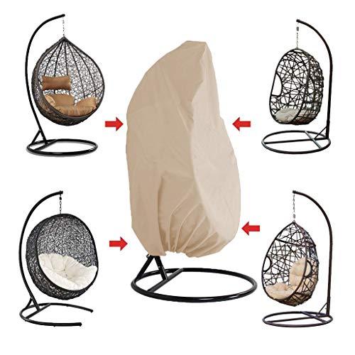 WILLQ Patio Egg Chair Cover Individual, Doble Funda De Silla Impermeable 210d Oxford Colgante Silla De Columpio Cubierta Impermeable Cubiertas De Muebles De Exterior,Beige,S