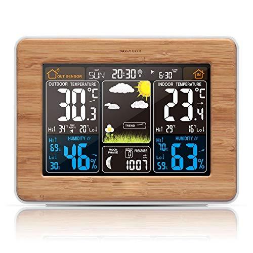 ASY Stazione Meteo Digitale Wireless Meteorologica Professionale con sensore Esterno Oregon LCD Display Sveglia Tempo Data Temperatura umidità Previsioni (Color : Yellow)