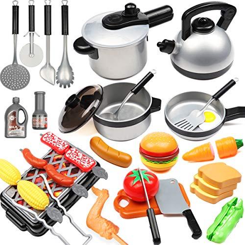34 PCs Accesorios Cocina Niños con Ollas y Sartenes Parrilla Barbacoa Cortar Verduras Regalos Cumpleanos Utensilios Cocina para Niños
