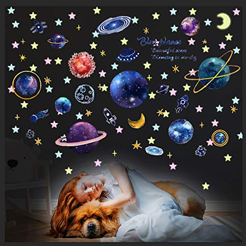 3D Cosmic Planet Wall Stickers, Removable Glow in The Dark Stars, Magic Milky Way Outer Space Wall Decals for for Living Room Kids Bedroom Home Nursery DIY Decoration - Creative & Bright (Blue)