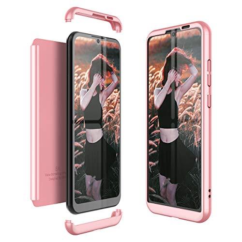 Winhoo Kompatibel mit Huawei Honor Play 8A Hülle Hardcase 3 in 1 Handyhülle 360 Grad Schutz Ultra Dünn Slim Hard Full Body Hülle Cover Backcover Schutzhülle Bumper - Rose Gold