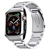 EloBeth Compatible with Apple Watch Band 44mm Series 4/5/6/SE with Case, Stainless Steel iWatch 44mm Bands with Protective Cover for Apple Watch SE & Apple Watch Series 6/5/4 44mm (Silver)