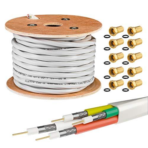 25m HB-DIGITAL Koaxial Quattro-Kabel SAT 4-Fach Kabel Weiß 4-in-1 für Ultra HD 4K DVB-S / S2 DVB-C und DVB-T / T2 BK Anlagen + 20 vergoldete F-Stecker Set Gratis dazu (Quattro, Quad Kabel)