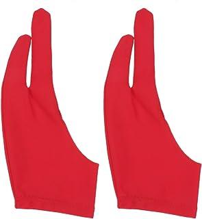 TOPBATHY 2個のタブレット描画手袋アーティストの手袋グラフィックタブレットアートクリエーション用フィンガードローインググローブサイズS(赤)
