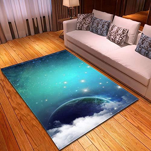 QWFDAQ alfombras Baratas Cielo Estrellado del Planeta Azul 3D alfombras 160 x...