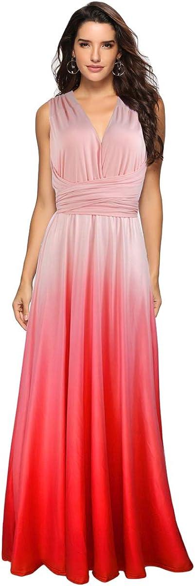 Women Evening Long Maxi Gradient Deluxe Dress High order Convertible Transfo Ombre