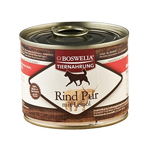( 0.80 Euro pro 100g ) Boswelia Tiernahrung Rind pur mit Leinöl Nassfutter für Hunde 200g