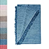 Colcha Multiusos: Plaid Sofa, Manta Foulard, Cubre Cama, Foulard para Sofas de Algodón y Otras Fibras Acabado de Calidad Fabricado en España. (Azul Jaspeado 02, 180x260cm.)