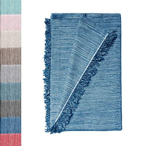 Colcha Multiusos: Plaid Sofa, Manta Foulard, Cubre Cama, Foulard para Sofas de Algodón y Otras Fibras Acabado de Calidad Fabricado en España. (Azul Jaspeado 02, 230x260cm.)