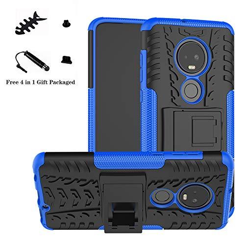 LiuShan Moto G7 Hülle, Dual Layer Hybrid Handyhülle Drop Resistance Handys Schutz Hülle mit Ständer für Motorola Moto G7 / G7 Plus Smartphone,Blau