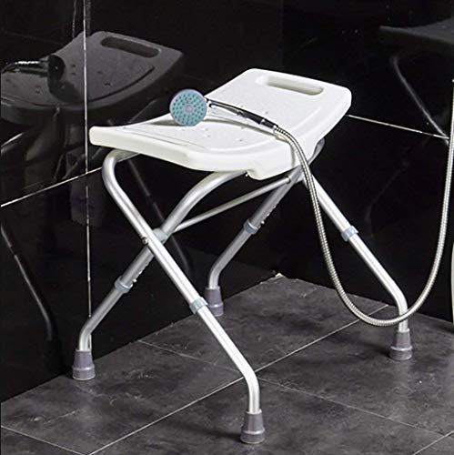 WDHWD Dongyd douchestoel in hoogte verstelbaar, ligstoel, bankstoel, opklapbare badkamerstoel, met antislipzitting en voeten, wit
