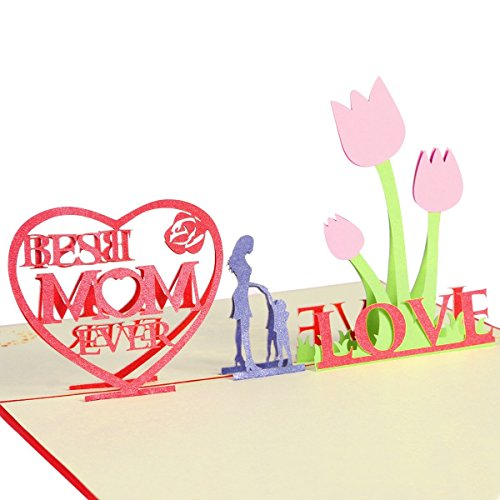 Thanks Card for Mom 3D Pop Up Greeting Card with Envelope for Mom Birithday Mothers Day Gift (Best Mom Ever)