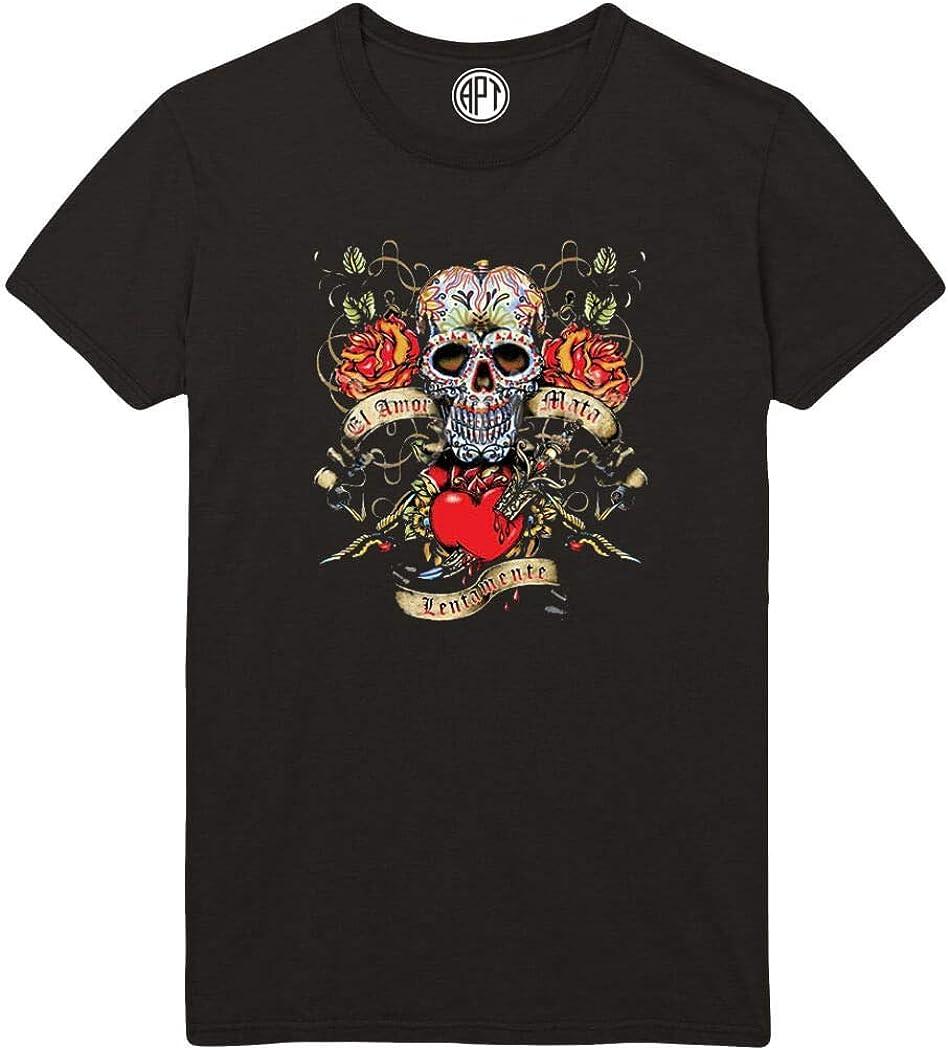 El Amor MATA Lentamente Skull Printed T-Shirt