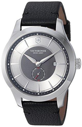 Victorinox Relógio masculino Swiss Army Alliance Sub-Seconds, Mostrador cinza, pulseira de couro preto,