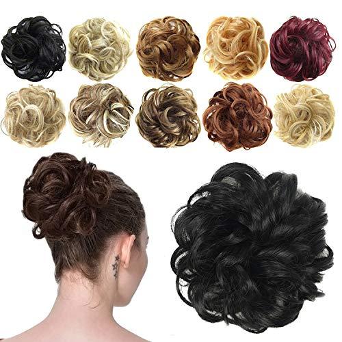 Preisvergleich Produktbild Feshfen Haargummi-Haarteil,  für Haarknoten / Pferdeschwanz,  Haarverlängerung,  gewellt,  unordentlicher Haarknoten,  Dutt,  Hochfrisur,  Haarteil,  A02 - Natural Black 1B