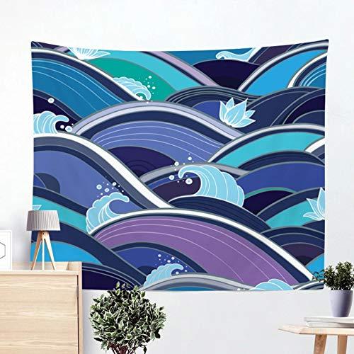N/A Impresión 3D de tapices Tapiz de Pared de Acuarela de Rayas geométricas de océano, Colcha de Playa, Toalla de Playa, Alfombrilla de Picnic para Yoga, Tapiz Colgante de Pared para el hogar