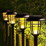 LeiDrail Solarleuchte Garten Solarlampen für Außen Solar Gartenleuchte LED Warmweiß Metall Gartendeko Wegeleuchte Wasserdicht für Terrasse Weg Hof Rasen 6 Stück