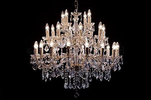 Kronleuchter Maria Theresa 28 flammig Gold - Ø95cm Venezianischen Glas - Klassisches Lüster Goldfarbe 28 Armig