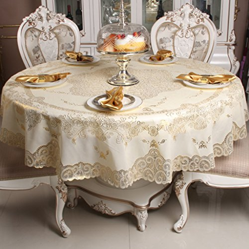Tafelkleed PVC ronde tafelkleed, goud en zilver afdrukken ronde salontafel tafelkleed 180cm