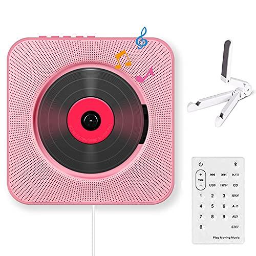 Sirao Portátil CD Jugador con Bluetooth, Altavoz de HiFi Incorporado en la Pared, Boombox de Audio para el hogar con Control Remoto, FM Radio USB MP3 3. Jack de 5 mm Auriculares (Color : Pink)