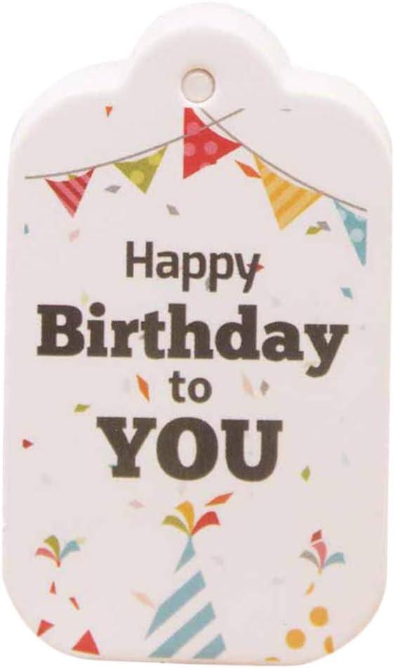 Style2 FLAMEER 100 St/ück Happy Birthday Geschenkanh/änger Kleines 5x3cm Leeres Etikett Zum Geburtstag
