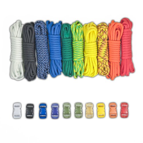 PARACORD PLANET Paracord Survival Bracelet Project Rainbow Combo Kit with 100 Feet in 10 Colors and 10 Buckles