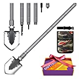 COTTEOX Survival Folding Camping Shovel 37.8' Lengthened Handle Larger Thicker Shovelhead Tactical Multitool with Storage Pouch Gifts for Men Him for Camping Hunting Backpacking Fishing Emergency