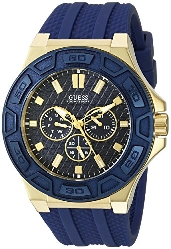 GUESS  Comfortable Iconic Gold-Tone Blue Stain Resistant Silicone Watch with Day, Date + 24 Hour Military/Int'l Time. Color: Blue (Model U0674G2)