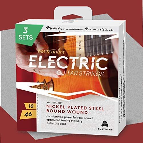 E-Gitarrensaiten 3 SETS .010 .046 Stahlsaiten KONSISTENTER & KRAFTVOLLER ROCK SOUND OPTIMIERTE STIMMSTABILITÄT 6-Saiten-Satz für Elektrikgitarre AMAZOUND