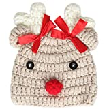 Ypser Infant Baby Knitted Beanie Photo Prop Crochet Knit Cap Christmas Cap Deer Hat with Bow