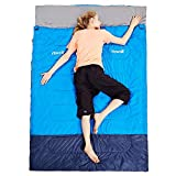 HEWOLF Double Sleeping Bags for Adults Lightweight Waterproof Envelope Sleeping Bag Compact 4 Season Cotton Sleeping Bag with Compression Sack for Camping Hiking - 220×145cm (2.1kg)