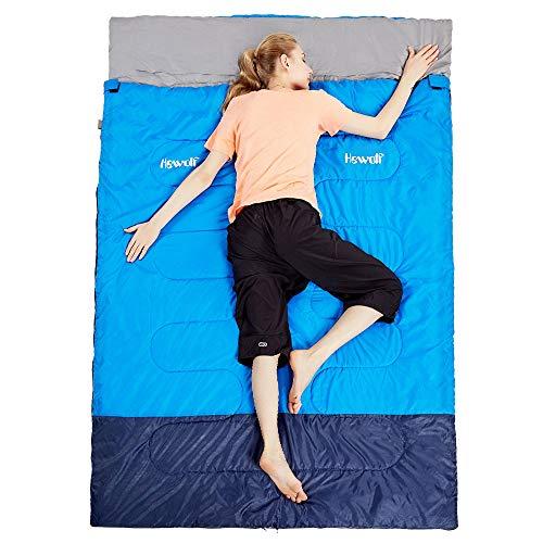 HEWOLF Doppelschlafsack für 2 Personen Erwachsene Deckenschlafsack Eignet für warmes und kaltes Wetter Wasserdichter Schlafsack für Camping, Rucksackreise oder Wandern im Freien