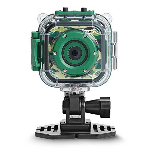 DROGRACE Fotocamera per bambini Fotocamera digitale HD 1080P Videocamera subacquea per sport impermeabile Videocamera per ragazze Ragazzi Compleanno B