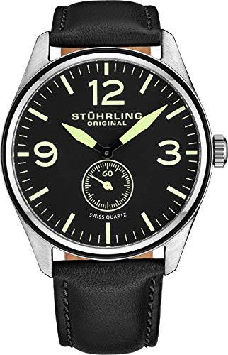 Stuhrling Original Aviator 931 Men's Quartz Watch with Black Dial Analogue Display and Black Leather Strap 931. 01