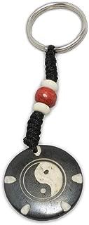 Zen Canyon Yin and Yang Black White Yak Bone Key Chain Ring - Eco-friendly Fair Trade