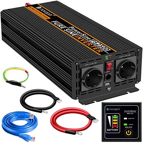 2500W KFZ Reiner Sinus spannungswandler-Auto Wechselrichter 48v auf 230v Umwandler-Inverter Konverter mit 2 EU Steckdose und USB-Port - inkl. 5 Meter Fernsteuerung Spitzenleistung 5000 Watt