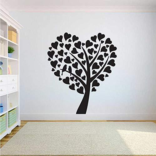Aplique De Pared De Árbol Pegatina De Vinilo Dormitorio Corazón Árbol Vida Raíces Sala De Estar Decoración Del Hogar Yoga Estudio Calcomanía Aula Arte Mural 42X49Cm