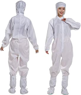 TENDYCOCO White Overalls with Hood One-Piece Dungarees for Men Protective Suit (Without Shoes, Size L)