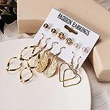 FEARRIN Pendientes Pendientes de Mujer inusuales de Moda Set Pendientes de aro de Perlas acrílicos para Mujer Pendientes de Borla Bohemios Joyería Kolczyki geométrica Gold249