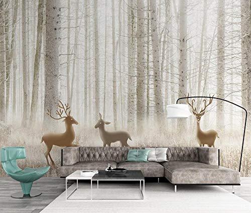 Fototapete 3D Effekt Fantasie Waldelch Dschungelgras Vliestapete Tapete 3D Fototapeten Wanddeko Wandbilder Wohnzimmer,250cmX175cm