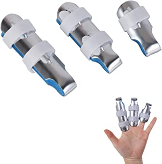 Kangwell Finger Splints Set(S/M/L)   Made for Finger Knuckle Immobilization of Adults and Children Suffering Pain Locking Straightener, Adjustable Fingerfix Clamp-for Fracture, Sprain (3 Pieces)